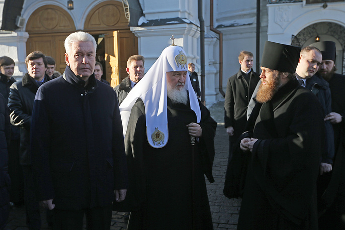 Moscow Mayor Sobyanin and Patriarch Kirill visit Novospassky Monastery